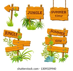 Cartoon game panels in jungle style. Isolated wooden gui elements with tropical leaves and boards. Illustration on white background.