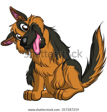 Cartoon German Shepherd Stock Illustration 357287219 Shutterstock