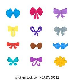 Cartoon Gift Bows Icons Set Present Concept Decorative Celebration Element Flat Design Style. illustration of Bow Icon