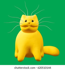 Cartoon ginger cat. Cute orange kitten character on green background. 3D illustration.