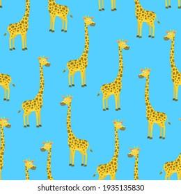 Cartoon Giraffe Seamless Pattern Background Flat Design Style. illustration