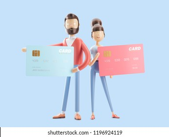 cartoon girl and boy with a big credit card. 3d illustration