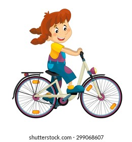 Cartoon girl on the bicycle - illustration for the children