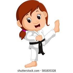 Cartoon girl practicing karate