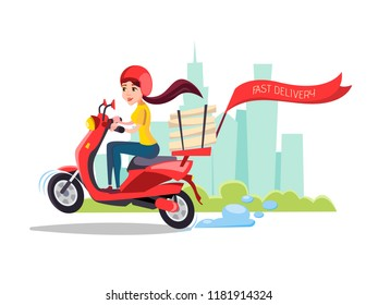 cartoon girl riding scooter. Delivery food pizza service poster background template with female character on motorcycle delivering packages box with smile. Transportation company promo design