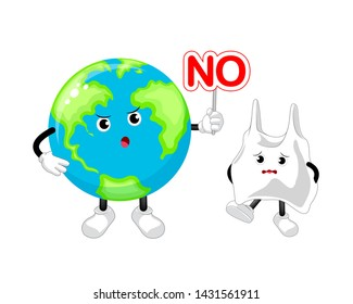Cartoon globe character holding no sign. Say no to plastic. Global warming concept. Illustration isolated on white background.