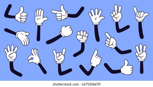 Cartoon gloved arms. Comic hands in gloves, retro doodle arms with different gestures  isolated illustration icons set. Showing numbers, pointing with finger. Rock sign, thumb up, high five