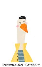 Cartoon Goose sailor - poster for Children. Goose Cute animals character illustration. Ahoy