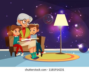 cartoon grandmother reading astrophysics, cosmos space science book boy girl sitting armchair. Illustration elderly parent background home interior ,planets stars galaxy on wall imagined by kid