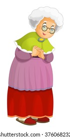 Cartoon grandmother standing and smiling - isolated - illustration for the children
