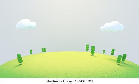 Cartoon green trees on the hill. 3d rendering picture.