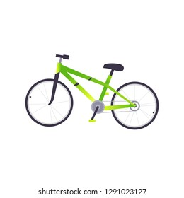 Cartoon green trendy bike icon. Sport and travelling equipment. Active livestyle vehicle. Cycling workout and training object. illustration.