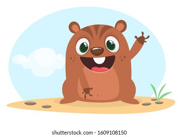 Cartoon groundhog. Happy groundhog day illustration