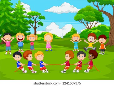 Cartoon group of children playing tug of war in the park