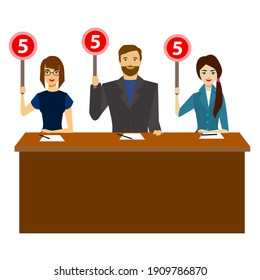Cartoon Group of Judges Jury Characters People Showing or Voting Hand Up Concept Element Flat Design Style. illustration