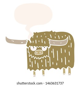 cartoon hairy cow with speech bubble in retro style