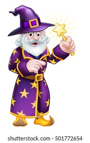 A cartoon Halloween wizard character pointing and waving a magic wand