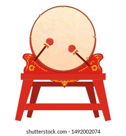Cartoon hand drawn chinese style red gongs and drums illustration