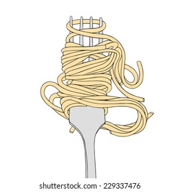 Cartoon hand drawn illustration of the fork with spaghetti