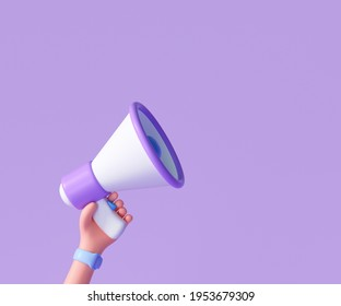 Cartoon hand holding megaphone on purple background with copy space. 3d render illustration