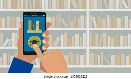 cartoon hand holding a smartphone with an app for e-learning, concept of online school, bookshelf on background, copy space