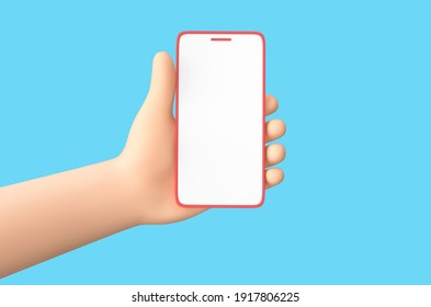 Cartoon hand holding smartphone isolated on blue background. 3D rendering