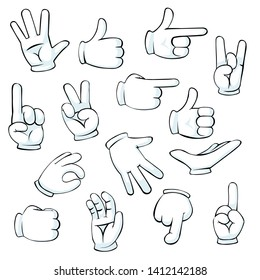 Cartoon Hand Sign. Comics Clip art. Flat hands in white gloves isolated on white background