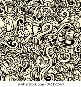 Cartoon hand-drawn doodles on the subject of Coffee style theme seamless pattern.
