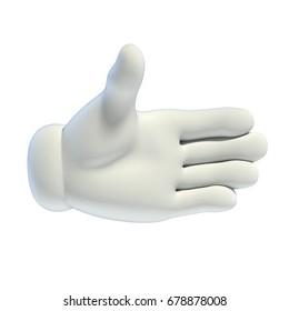 Cartoon hands set - handshake gesture 3d rendering