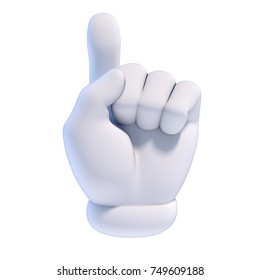 Cartoon hands set - number 1 (one) fan hand glove with finger raised 3d rendering