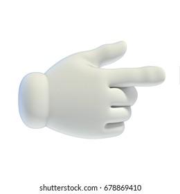 Cartoon hands set - pointing hand 3d rendering