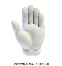 Cartoon hands set - stop hand gesture 3d rendering