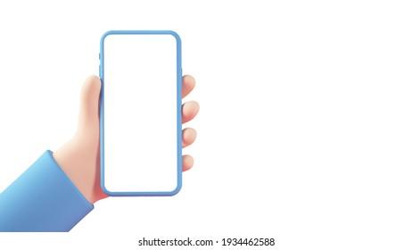 Cartoon hands with smartphone 3d rendering