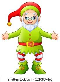 Cartoon happy christmas old elf