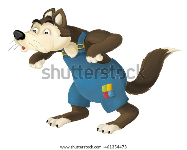 Cartoon happy and colorful wolf blowing - isolated - illustration for the children