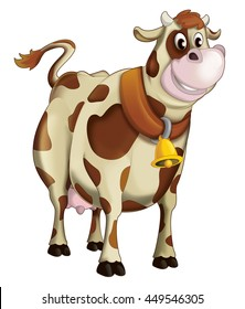 Cartoon happy cow - isolated - illustration for children