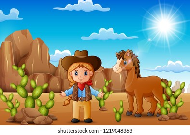Cartoon happy cowgirl with horse in the desert