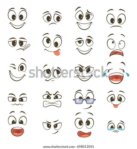 Cartoon happy faces with different expressions. illustration. Happy face emotion, funny character emoticon caricature