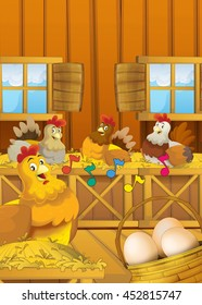 Cartoon happy farm scene - hens and eggs - hens singing with playing colorful notes flying in the room - illustration for children