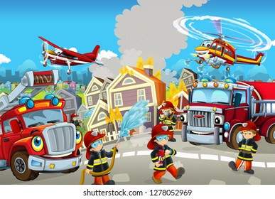Cartoon happy and funny city scene with firemen and different cars and flying machines for different usage - illustration for children