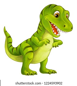 cartoon happy and funny dinosaur - tyrannosaurus - illustration for children