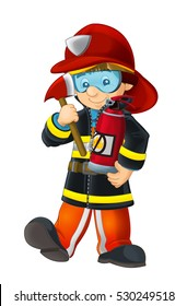 Cartoon happy and funny fireman with oxygen tank axe and extinguisher - isolated - illustration for children