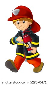 Cartoon happy and funny fireman walking with extinguisher - isolated - illustration for children