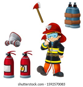 Cartoon happy and funny fireman working on white background with tools - illustration for children