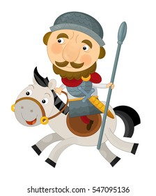 Cartoon happy and funny knight or king on a horse - isolated on white background - illustration for children