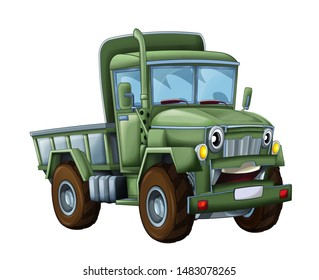 cartoon happy and funny military truck - isolated truck smiling vehicle illustration for children