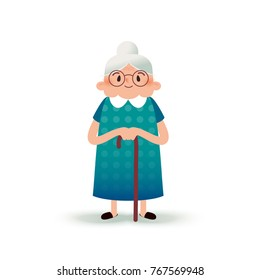 Cartoon happy grandmother with a cane. Old woman with glasses. Flat illustration on white background. Funny granny.