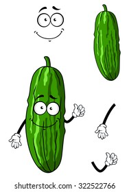 Cartoon happy green cucumber or gherkin vegetable with smiling face isolated on white
