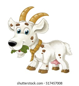 Cartoon happy horned goat is eating grass looking and smiling - artistic style - isolated - illustration for children