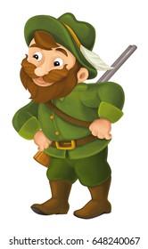 cartoon happy hunter illustration for children